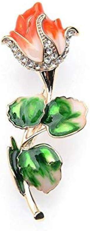 Orange Enamel Rhinestone Rose Flower Brooch Anti-Light Silk Scarf Buckle Coat Western Ornament Badge Gift-1