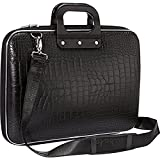 PERFECT SHOPO New Cady Collection Durable Briefcase Carrying Case with Removable Shoulder Strap for 14.5 in Laptops / Notebooks For Men And Women (Crocodile Design)