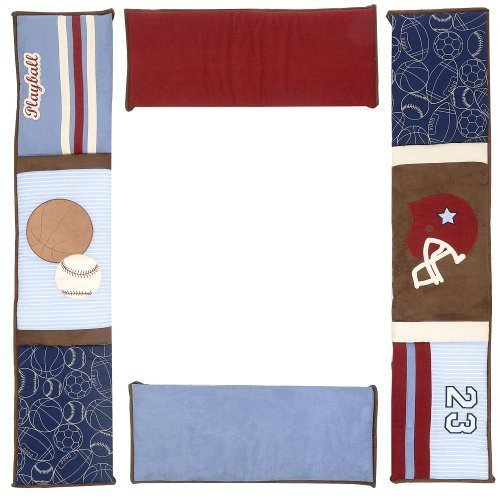 Denim Crib Bedding (NoJo Play Ball, Crib Bumper, Navy/Red/Indigo/Ivory/Brown)