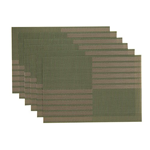 SUNSHINE FASHION Placemats, Table Mats,Placemat Set of 6 Non-Slip Washable Place Mats,Heat Resistant Kitchen Tablemats for Dining Table (Green, 6)