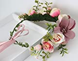 Vivivalue Lily Handmade Boho Flower Wreath Headband Halo Floral Hair Garland Crown Headpiece with Ribbon Festival Wedding Pink