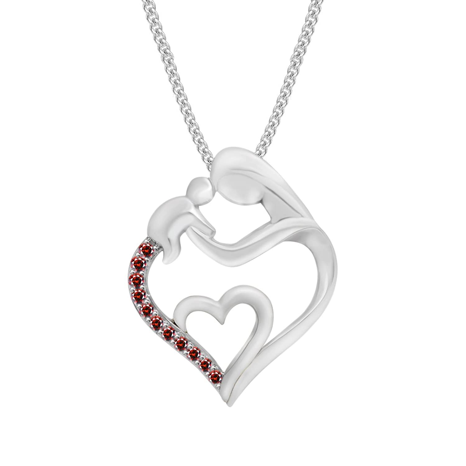 Pretty Jewellery Round Red Garnet Mom & Child Heart Pendant in 14K White Gold Fn 925 Silver W/ Chain
