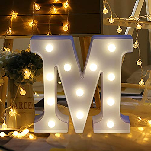 Halloween Clearance, Alphabet Letter Lights LED Light Up White Plastic Letters Standing Remote Control Night Lights (M) ()