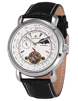 KS Mens Luxury Faux Tourbillion Moon Phase Automatic Mechanical Leather Wrist Watch
