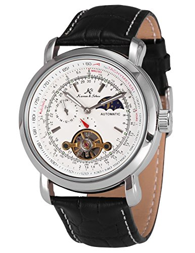 KS Men's Wrist Watch Luxury Moon Phase Automatic Mechanical White Dial KS069 (German Wrist Watches)