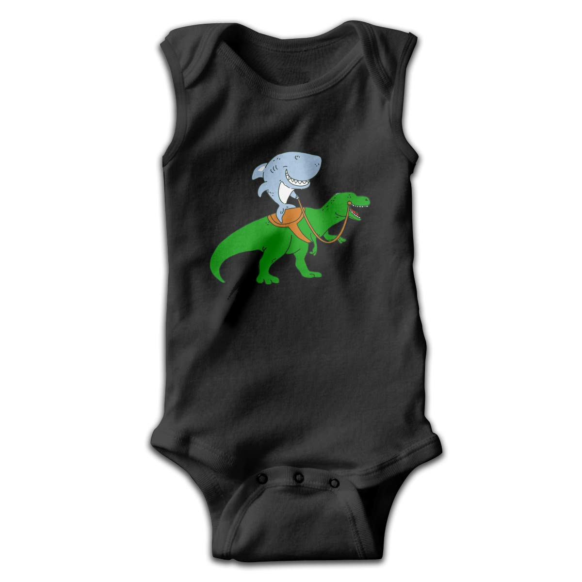 Great White Shark Riding A T Rex Infant Baby Boys Girls Crawling Suit Sleeveless Romper Bodysuit Rompers Jumpsuit