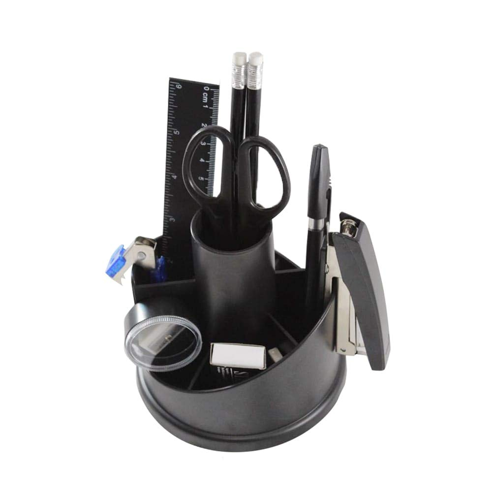 CloverCover Office Supplies and Holder Desk Organizer Set with Accessories, Black by CloverCover