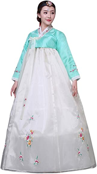 f08c2b82b CRB Fashion Womens Ladies Korean Traditional Hanbok Dress Outfit Costume  with Embroidery Flower Details (Extra