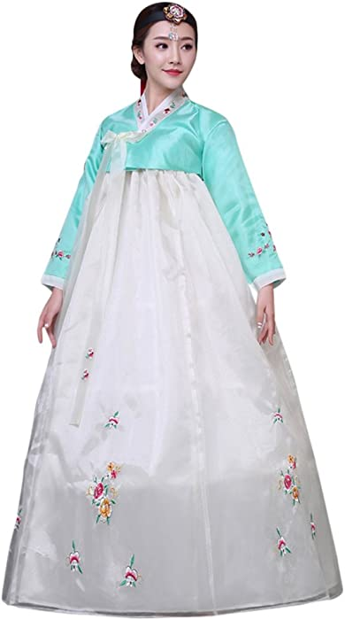 5819ded6d33 CRB Fashion Womens Ladies Korean Traditional Hanbok Dress Outfit Costume  with Embroidery Flower Details (Extra