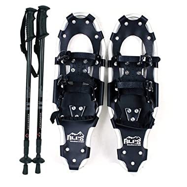 ALPS Performance Snowshoes with Pair Antishock Snowshoes Poles + Free Carrying Tote Bag (25 INCHES)