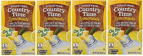Country Time Lemonade Sugar Free On the Go! 6 Packets Powder (pack of 4) Gluten Free ()