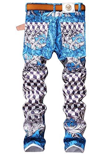 Ufig Da Gamba Slim A Fit Casual Stampati Pantaloni Dritta Jeans Uomo Retrò Colour In Denim Moderna Tw5xqA