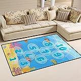 WellLee Area Rug,Underwater Marine Hopscotch Game Floor Rug Non-Slip Doormat for Living Dining Dorm Room Bedroom Decor 31x20 inch