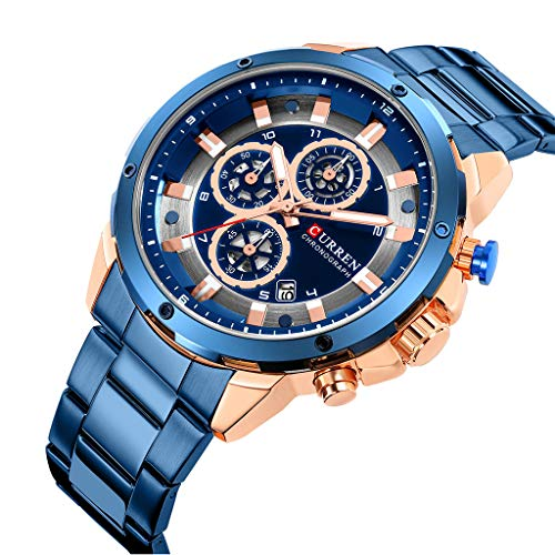 Clearance Sale!DEESEE(TM)Waterproof Calendar Quartz Watch Round Three Fashion Eye Men's Business Watch (Blue)
