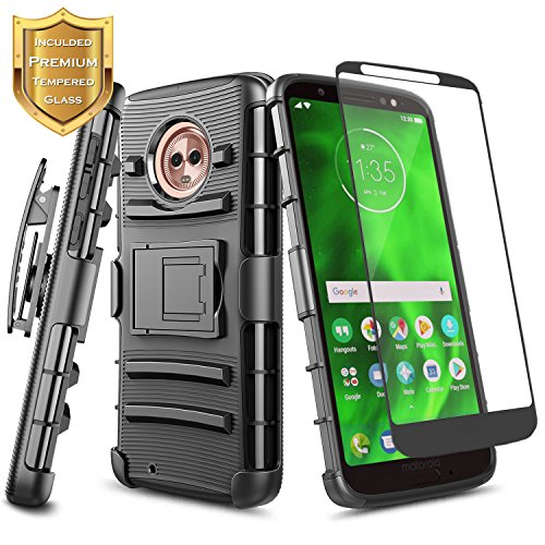 Moto G6 Case, NageBee Built-in Kickstand Full-Body Shockproof Armor Belt Clip Holster Heavy Duty Rugged Durable Case with [Full Coverage Tempered Glass Screen Protector] for Motorola Moto G6 -Black