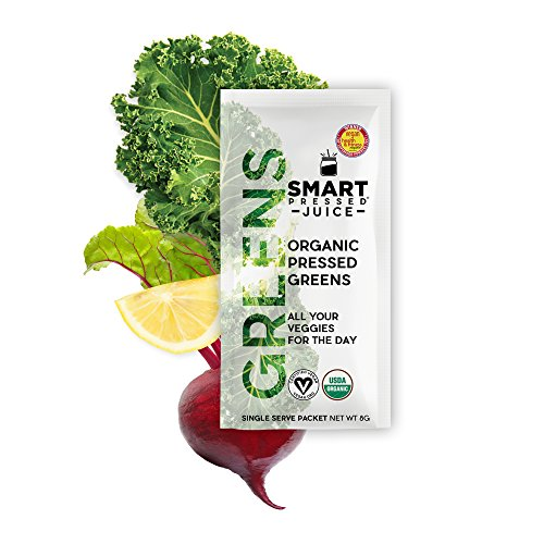 Smart Pressed Organic Greens Superfoods Juice Powder Single Serving Cold-Pressed Vegan Alkalizing Green Juice Cleanse Detox (Original, 10ct Packets)