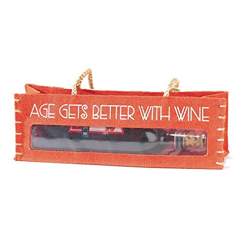 "Jozie B 228038 ""Age Gets Better"" Jute Horizontal Wine Tote Bag"