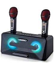 Portable Karaoke Machine for Kids & Adults - Best Birthday or Holiday Gift w/Bluetooth Speakers, 2 Wireless Microphones, LED Lights, Tablet Holder, PA System & Karaoke Song Mode! (Presto, G2 Black)