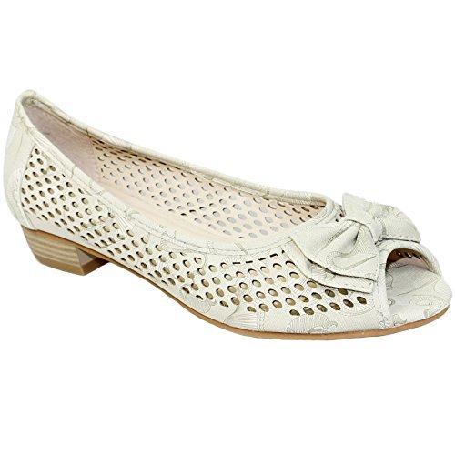 Sapphire Boutique by Sapphire Zafiro Boutique @ flc105 Mujer Punta Abierta Sandalias Tacón Bajo Coast Lazo Manoletinas Plantilla Acolchada Zapatos Beige