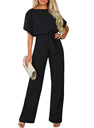 f00b6451579 HOTAPEI Womens Jumpsuit Sexy Long Pants Tie Waist Belt Batwing Sleeve Wide  Leg Long Romper and