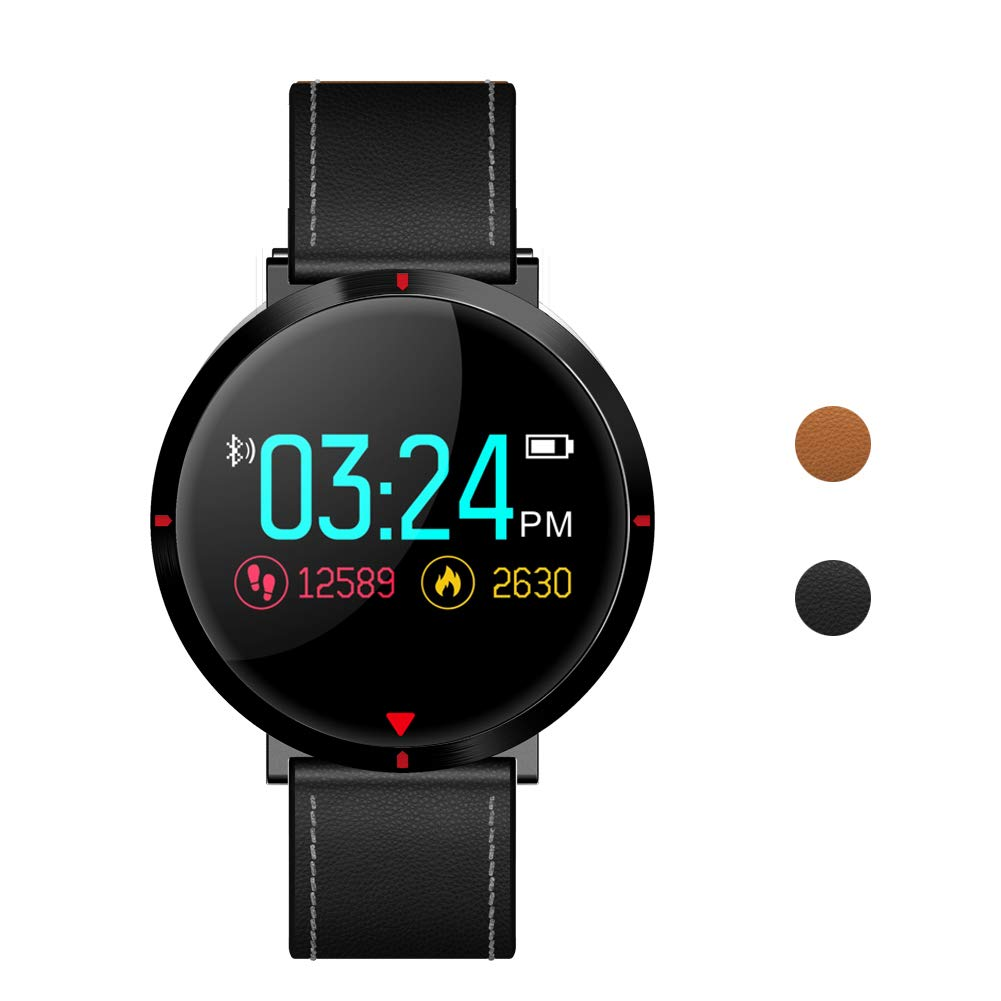 maxtop Leather Band Healthy Smart Watch for Men with Heart Rate Monitor/Blood Pressure/Pedometer/Sleep Monitor/Message&Call Reminder Compatible with Android and iOS Phone/Black
