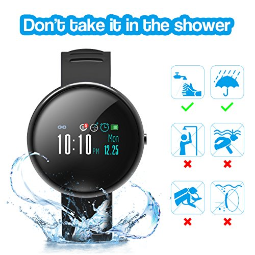 ROADTEC Smart Watches Men Women Fitness Tracker Watch Heart Rate Monitor,IP67 Waterproof Activity Tracker Calorie Pedometer Sleep Monitor Android (Black+Gray) by ROADTEC (Image #1)