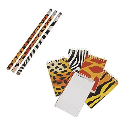 TwiceBooked Wild Animal Safari Writing Stationary Set Bundle - 12 Animal Print Pencils & 12 Mini (Animal Print Pencils)