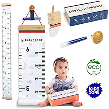 Growth Chart for Kids,Wall Nursery Decor with Canvas /& Wood Frame Handing Removable Wall Ruler Fox Ruler Decor for School Kids Room Bathroom 79x7.9 Scale Cartoon Height Measurement