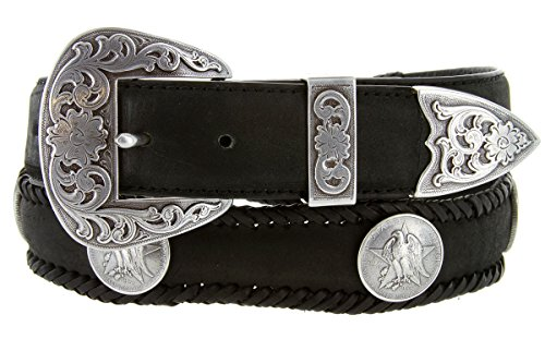 Texas Centennial Half Dollar Eagle Star Coin Concho Western Leather Scalloped Belt Black 42