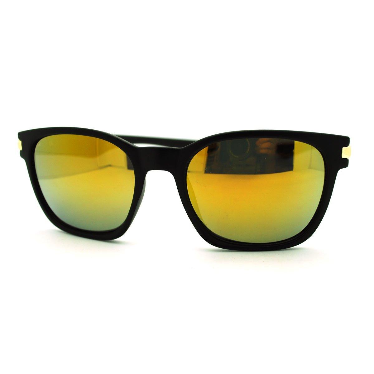 Unisex Casual Fashion Eyewear Black Square Reflective Lens Sunglasses