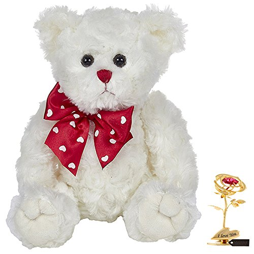 Gold Plated Teddy Bear - Matashi Single 24k Gold Plated Rose Flower Tabletop Ornament w/Red Crystals Metal