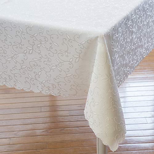 Turkish Ivory Rectangle Tablecloth Polyester Table Cover - Stain Resistant Wrinkle free Non-Iron Dust-proof – Table linen for Wedding Christmas New Year Dinner Gift (IVORY, Rectangle 60