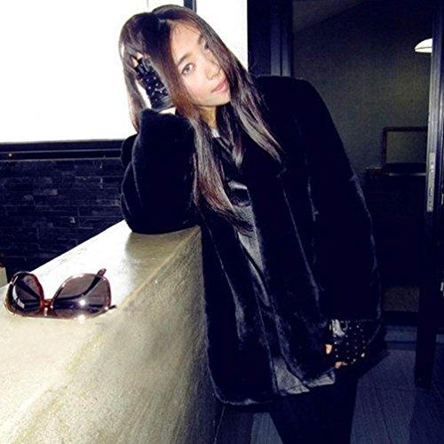 mujer Chaqueta New de cálido Ladies invierno para piel Internet Negro Parka sintética Outerwear de Abrigo xRpAYa