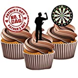 Fathers Day Darts Cake Decorations - Edible Stand-up Cup Cake Toppers by AKGifts