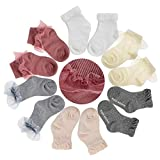 LANYAN Baby Socks Girls, Frilly Lace Dress Socks for Toddler 6-24 Months 4/6Pairs