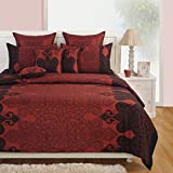 Yuga D #233;cor Printed Maroon Cotton King Size Decorative Duvet Cover Bed Set 90 X 108 Inches