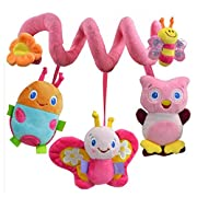 Baby Plush Spiral Activity Toy Crib Stroller Car Seat Travel Toy Owl Butterfly Animals Design Stroller Hanging Toy Gift for Baby by TheBigThumb