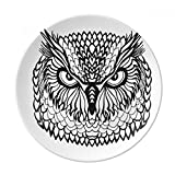 Big Eyes Owl Bird Animal Portrait Sketch Dessert Plate Decorative Porcelain 8 inch Dinner Home