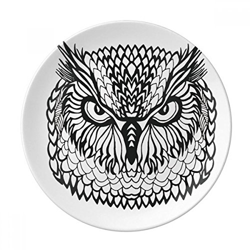 Big Eyes Owl Bird Animal Portrait Sketch Dessert Plate Decorative Porcelain 8 inch Dinner Home by DIYthinker