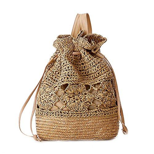 Catkit Handmade Womens Preppy Style Tote Handbag Summer Beach Shoulder Bag Backpack Light Brown