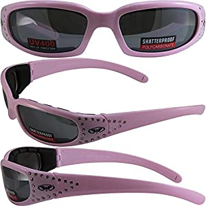Global Vision Marilyn 3 Padded Motorcycle Sunglasses Pastel Pink Crystal Rhinestone Decorated Frames with Flash Mirror Lenses