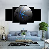Canvas Art Basketball Painting Blue light Wall Pictures Gym Poster Modular Painting 5 Panels