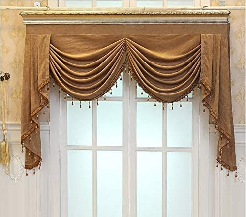 TIYANA Luxury Swag Curtain Valance for Living Dining Room Bedroom Luxury Velvet Fabric Window Swag European Royal Style Rod Pocket Top 1 Piece W98