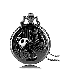 Engraved Pocket Watch for Men & Women, Aolvo The Nightmare Before Christmas Jack Skellington Theme Watch, Vintage Style Mini Pocket Watch with Chain Nacklace Decor, Ideal Gift Accessories