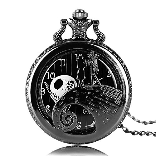 Aolvo Engraved Pocket Watch for Men & Women, The Nightmare Before Christmas Jack Skellington Theme Watch, Vintage Style Mini Pocket Watch with Chain Nacklace Decor, Ideal Gift -