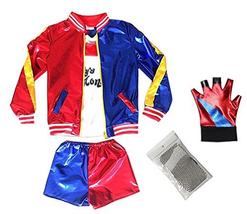 New Halloween Girl Costumes Coat Shorts Fishnets Glove Set For Kids (New Harley Quinn Costumes)