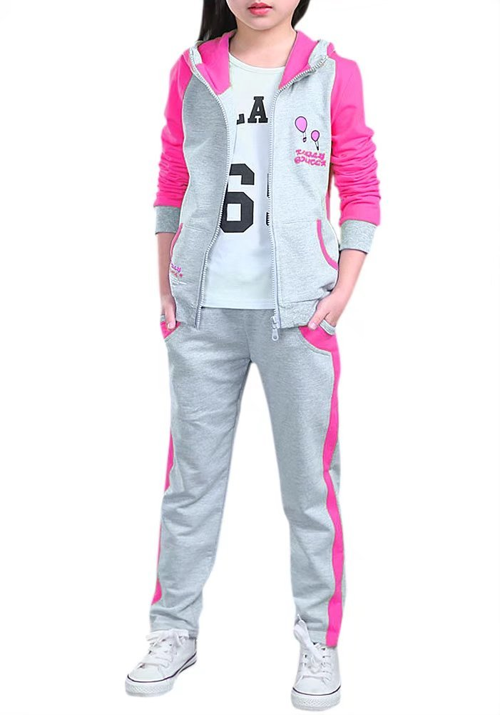 Kids Long Sleeves Baseball Sweatshirt Hoodie Jacket & Jogging Sweat Pants Track Set Tracksuit Outfit for Little & Big Girls, Grey/Pink 7-8 Years(7T-8T) = Tag 140