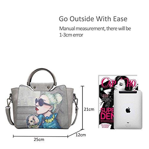 Navy Blue Handbag Bag PU Messenger amp;Doris Tote Shoulder Bag Fashion Leather Grey Women Nicole Waterproof qx4wOZW7xI