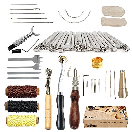Leather Sole Stitch (SIMPZIA 34 Pcs Leather Craft Stamping Tools with Stitching Groover,Prong Punch,Leather Working Saddle Making Stamps Tools for DIY Leather Craft Man,Be Careful of Its sharp edges Keep Way from Children)