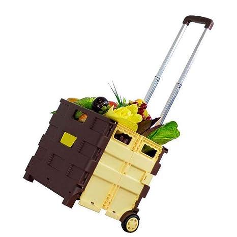 Carro de la compra plegable - Caja de almacenamiento plegable con ruedas con mango de aluminio